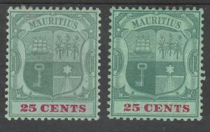 MAURITIUS 1900 ARMS 25C BOTH PAPERS WMK CROWN CA
