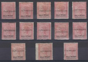 BC MAURITIUS 1876-77 Sc 47 SG# 79 GROUP OF 13 STAMPS CANCELLED SHADES GBP 455+