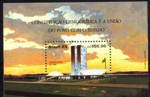 BRASIL BRAZIL 1988 ARCHITECTURE BRASILIA S/S YV BL 74 MI 75