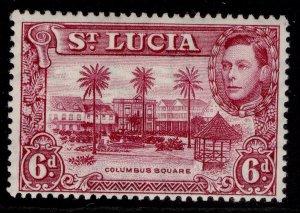 ST. LUCIA GVI SG134b, 6d claret, M MINT.