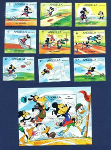 ANGUILLA - # 559-568 & 559a-567a - VF MNH - Disney Olympics + Rings - 1984