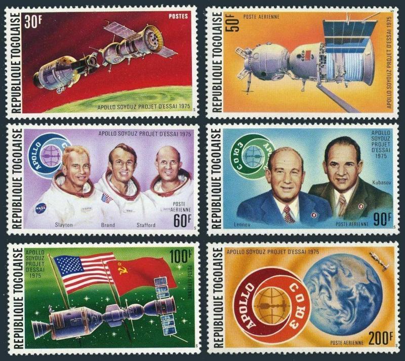 Togo 913,C254-C258,C258a sheet,MNH. Apollo Soyuz space test project,1975.Birds.