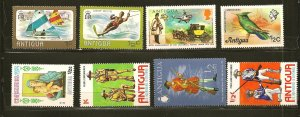 Antigua Lot of 8 Different 1970's Stamps MNH