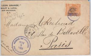 51072 -  EL SALVADOR -  POSTAL HISTORY - COVER  from Zacatecoluca to FRANCE 1901