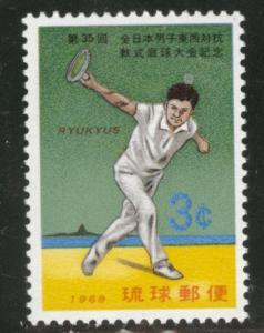 RYUKYU (Okinawa) Scott 179 MNH** 1968 tennis stamp