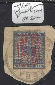 MALAYA JAPANESE OCCUPATION NS (P0805B) CHOP J169  RED PIECE CANCEL PERAK  VFU