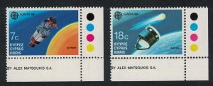 Cyprus Giotto Ulysses Satellites Europa in Space 2v Corners SG#798-799