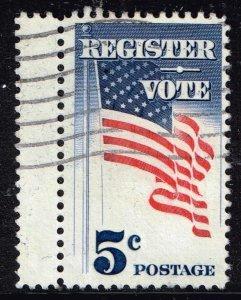 US STAMP #1249 – 1964 5c Register and Vote USED GUTTER SNIPE ERROR