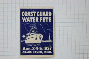 Coast Guard water fete Grand Haven MI ship lighthouse poster stamp 1937 event