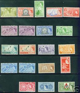 BERMUDA Scott 143-62 QE2 1953-8 complete MH* set CV$89