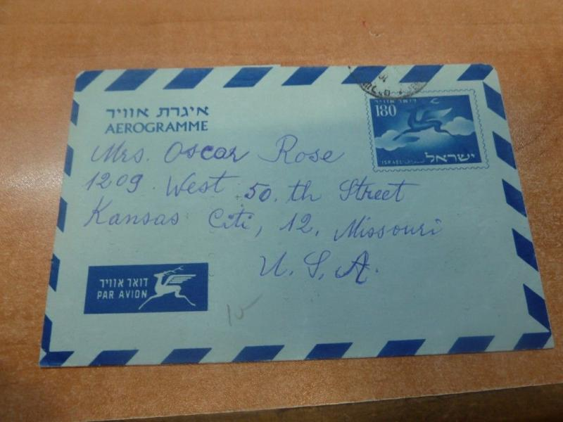 Israel 1956 180 Aerogramme to USA with message (46bed)