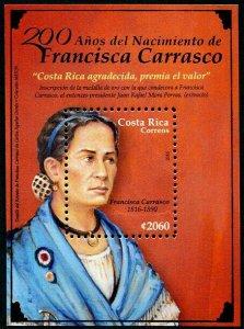 HERRICKSTAMP NEW ISSUES COSTA RICA Sc.# 675 Francisca Carrasco S/S