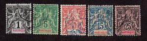 Martinique-1892-1906-SC 33,36,39,40&43-Used-Nav & Comm