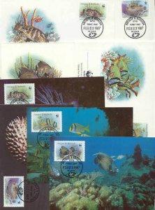 Antigua Barbuda 8 FDC/cards WWF/Fishes 1987