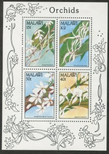 MALAWI Sc#581a 1990 Orchids Flowers Souvenir Sheet OG Mint Hinged