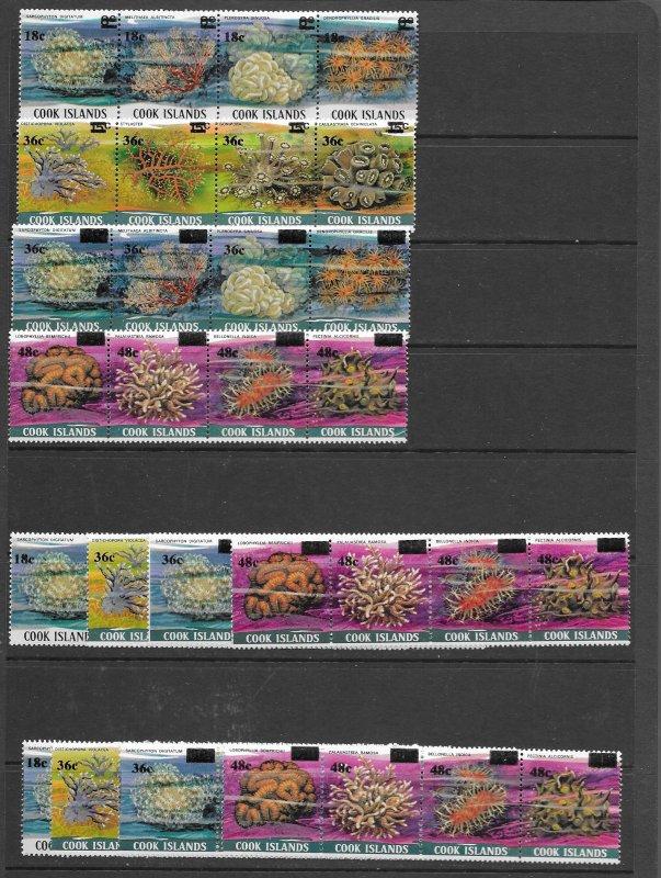 Cook Islands 710-3 MNH strips of 4 x 3ea, vf, see desc. 2020 CV$ 51.75