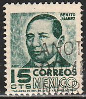 MEXICO 877, 15cents 1950 Definitive 2nd Printing wmk 300. USED. F-VF. (126)