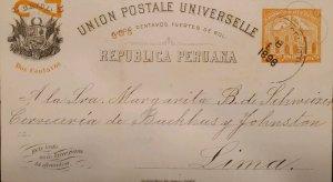 O) 1898 PERU, ERROR POSTAL STATIONERY, POST AND TELEGRAPH BUILDING, 2c, C