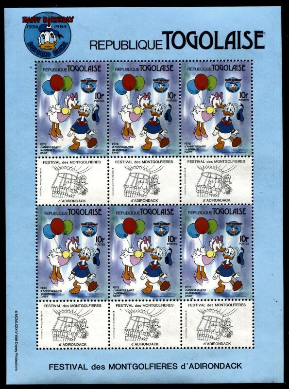 Togo 1234 Disney characters 50th Ann of Donald Duck 1984 x14668a