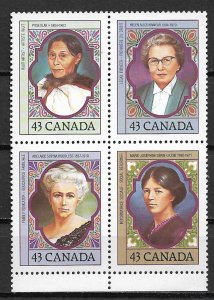 1993 Canada 1459a National Council of Women/YWCA 100th Anniv. blk of 4 MNH