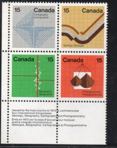 Canada Sc  5825 1972 Earth Sciences Block of 4 mint NH