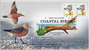 SC 4991, 2015, Coastal Birds, Red Knot, FDC, DCP, 15-166