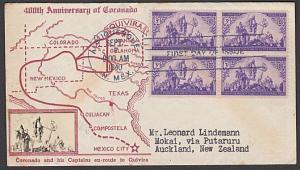 USA 1940 CROSBY photo FDC to New Zealand - Coronado - arrival backstamp....55353