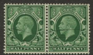 Great Britain - Scott 210 - KGV Definitive -1934 - VFU - Horiz.Pair. 1/2p Stamp