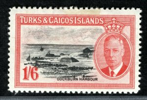 TURKS & CAICOS KGVI Stamp 1s/6d High Value Mint MM XBLUE81