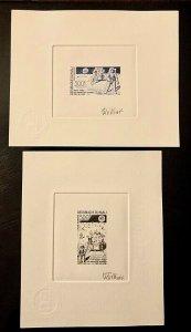 2 Artist proof signed Space Apollo XI Mali 1989