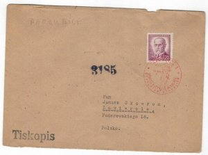 Czechoslovakia 1946 Censored Cover to Poland Cancellation Second World War II