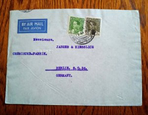 """V.RARE IRAQ 1939 """"COMMERCIAL"""" AIRMAIL COVER TO GERMANY HARD TO FIND"""