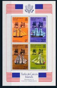 [35444] Turks & Caicos Islands 1976 Bicentenary Independence Sailboats S/S MNH