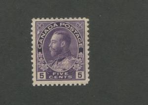 King George V 1922 Canada 5c Violet Postage Stamp #112 Value $100