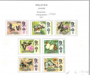 MALAYSIA Johor Scott 176-182 MH* Butterfly set