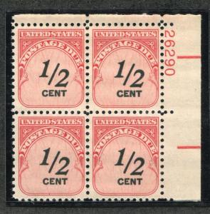 UNITED STATES J88 MINT NH, VF, PLATE BLOCK OF 4