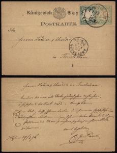 Germany Bavaria 1876 Postal History Rare postcard Uprated stationery to Amste...