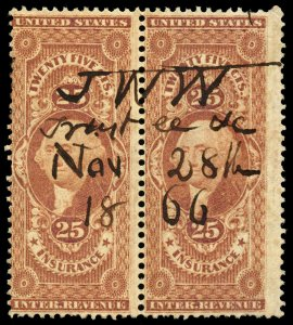 B375 U.S. Revenue Scott R46c 25c Insurance, pair with bold 1866 manuscript cxl