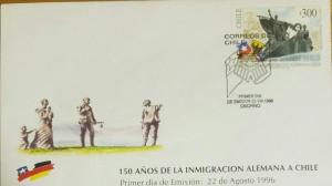 O) 1996 CHILE, GERMAN IMMIGRATION - MONUMENT SHOWING ARRIVAL ON BOAT, FDC XF