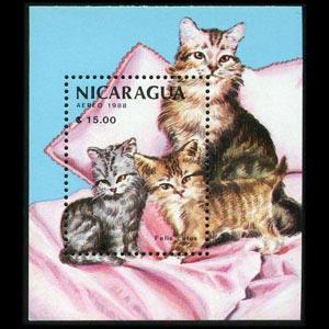 NICARAGUA 1988 - Scott# 1710 S/S Cats NH