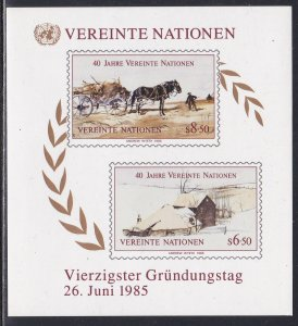 United Nations - Vienna #  54, U.N. 40th Anniversary Souvenir Sheet NH, 1/2 Cat.