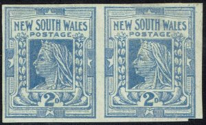 NEW SOUTH WALES 1902 QV 2D IMPERF PAIR WMK CROWN/NSW SG TYPE W65