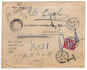 AS156 1931 INDIA Dehri Dun City Unpaid E *Card Only* GB London 1d Postage due