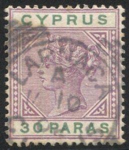 CYPRUS 1894 Sc 29, Used VF 30pa QV, LARNACA / A 1883 postmark cancel