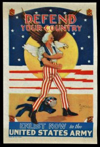 WWII 1940 VINTAGE UNCLE SAM DEFEND YOUR COUNTRY ENLIST US ARMY POSTER STAMP