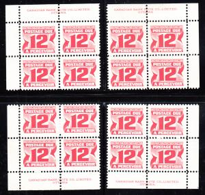 Canada 1973 MNH Sc J36i 12c Third Issue Postage Due Set of 4 Plate Blocks
