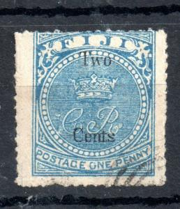 Fiji QV 1872 2c on 1d pale blue good used #13 WS13474