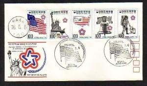 South Korea, Scott cat. 1034-1038. USA Bicentennial on a First day cover. ^