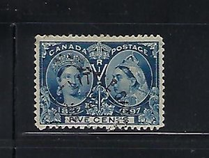 CANADA SCOTT #54 1897 VICTORIA JUBILEE 5 CENTS (BLUE)- USED