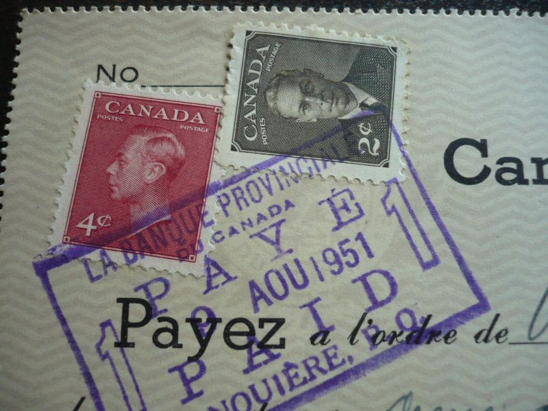 Canada - Revenue - KGVI Issue Stamps on cheque dated 1951